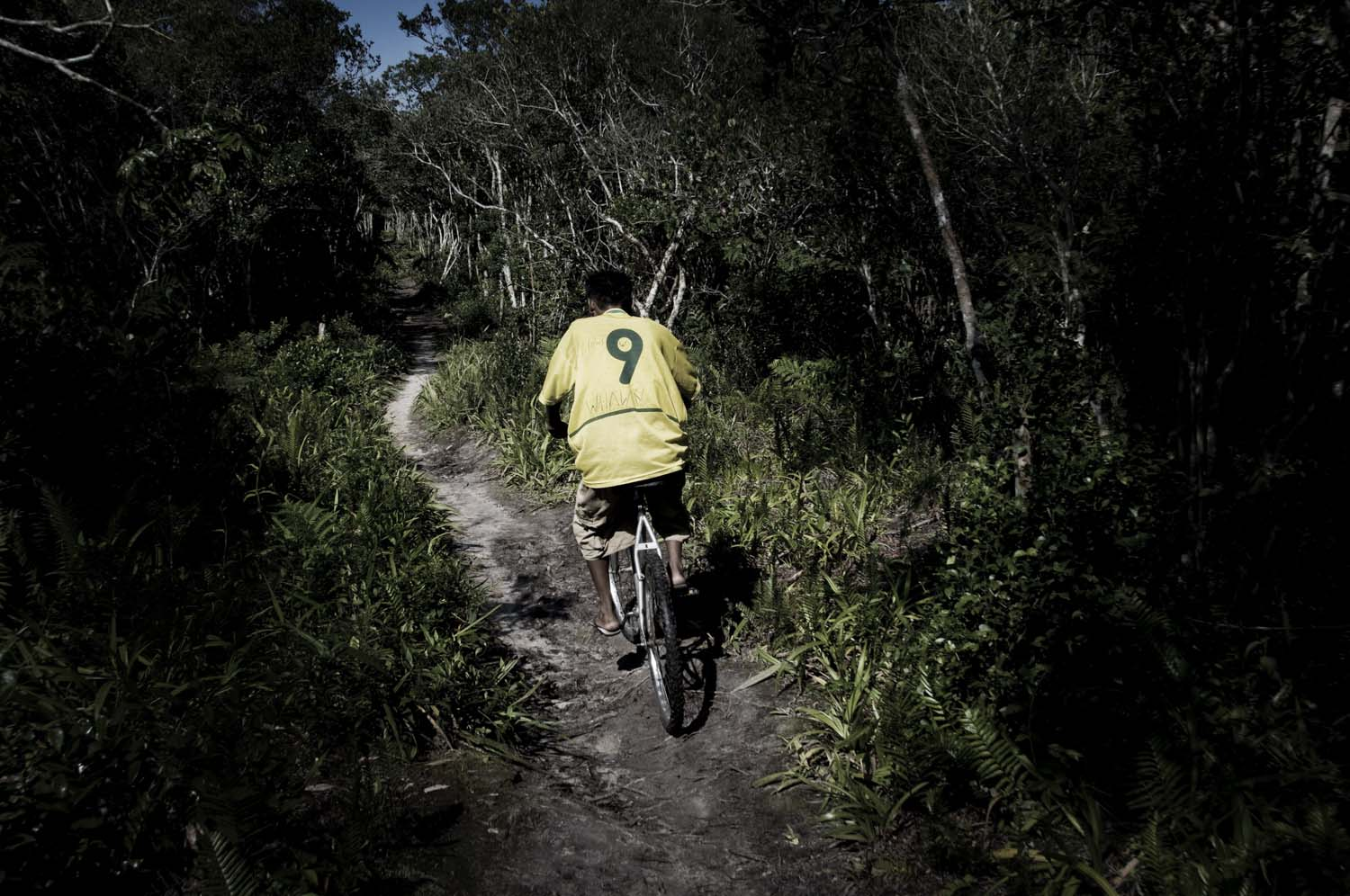 Boy wearing Ronaldo's Brazilian Soccer team drives a bicycle in the jungle.
