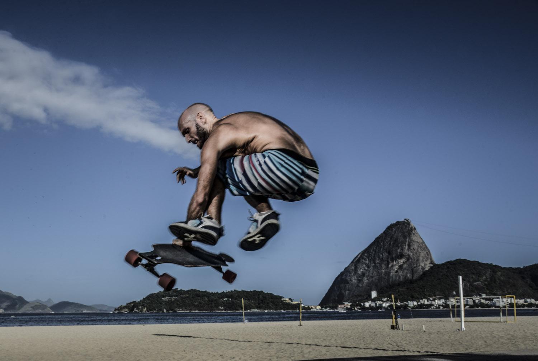 Skating at Flamengo's Beach, Rio de Janeiro.