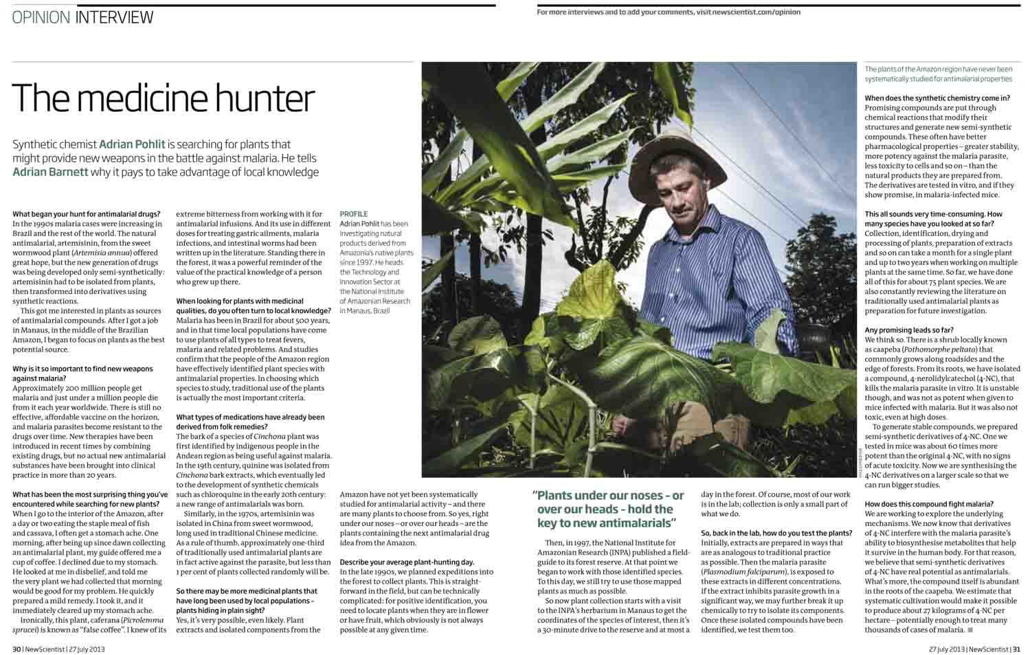 Scientist Adrian Pohlit, assignment in Manaus, Amazon for the New Scientist, UK