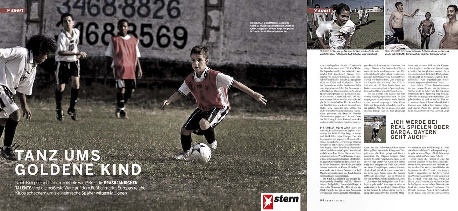 STERN Magazine, essay on new soccer talent in Brazil.