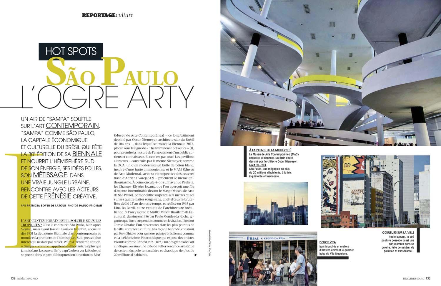 Madame Figaro, França, reportagem em São Paulo, Arte e Bienal