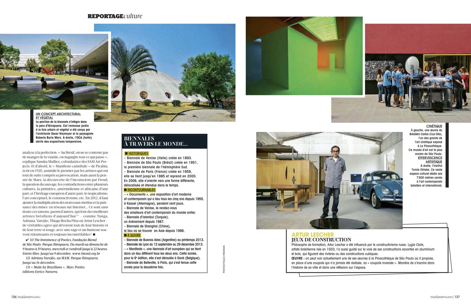 Madame Figaro, France, reportage on Sao Paulo;s Art and Bienal