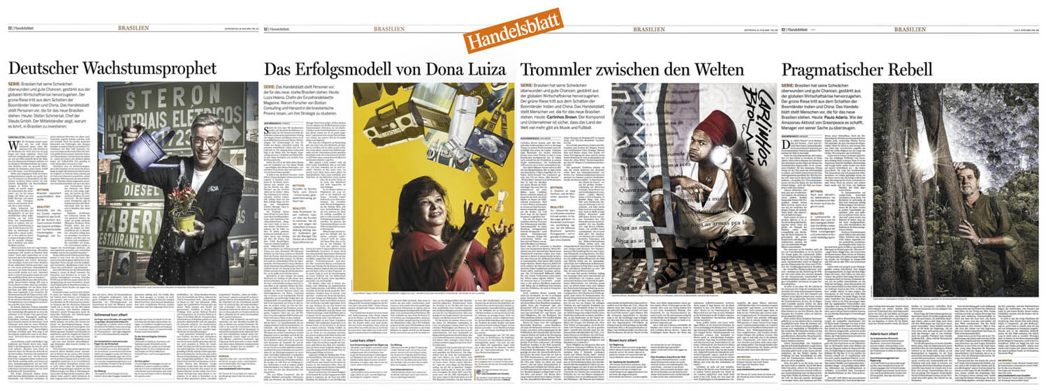 Handelsblatt, Germany, special about Brazil, portrais of main characters.
