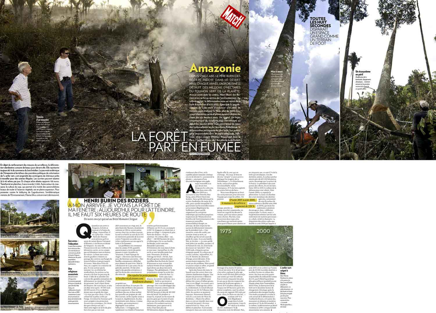 Paris Match, essay on the deforestation and the priest Henri Burin des Roziers.